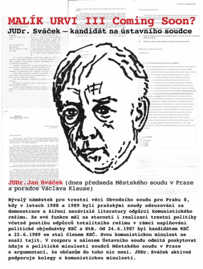 MALIK URVI III. Coming Soon? (X-communist judge Svacek running for Constitutional court)