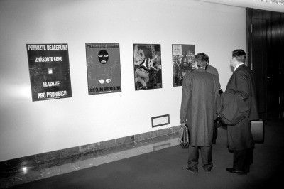Members of the Czech Parliament viewing Pode Bal's exhibition of posters