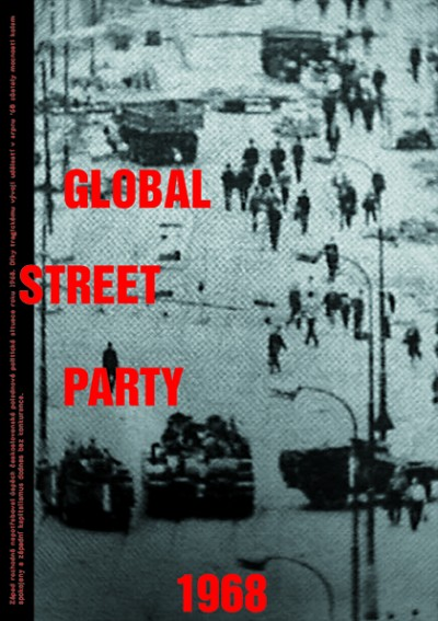 "Global Street party, small text: ""The west had no need for the Czechoslovak political experiment after January 1968 to be successful. As a result of the tragic events in August '68, both sides of the Iron Curtain remained satisfied and Western Capitalism has no real competition to this day."" Cprint, 70 x 00 cm, 1998"
