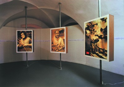 """The second level represents typical Czech people. The images of happy people were taken from communist-era editions of the magazine Vlasta and illuminated as """"city lights"""". (Caroline Wren, The Prague Post 6.-12. 10. 1999)"""