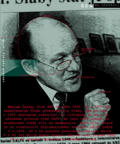 Marian Čalfa: member of KSČ since 1964. From 1972 he was an employee of the Governmental presidium office, where he became assistant chairman in 1987. From November 1989 until 1992 he was Prime Minister to the first ČSFR governments. In the spring of 1989 he received a residency in Hanspaulka from Husak's government. In 1999 he was still using this residency (which is in possession of diplomatic services). Since 1994, he has been a presidential adviser to Václav Havel. In 1995, he was asked by Miloš Zeman to join ČSSD. Since 1995 he has been an adviser of Chemapol group., Cprint, 100x120 cm, 2000