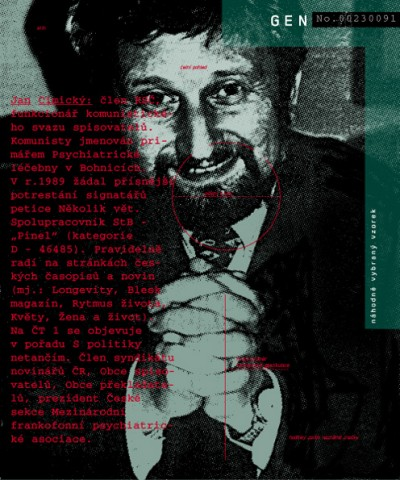 """Jan Cimický: KSČ member, a functionary of the Communist Writers Association. Appointed by communists as a registrar of the mental institution in Bohnice. In 1989 asked for stronger punishment for signatories of the """"Několik vět"""" petition. StB collaborator – """"Pinel"""" (category D-46485). Since 1989 he has been writing advice columns in Czech magazines and newspapers (Longevity, Blesk magazine, Rytmus Života, Květy, Žena a život, and others). He has apeared on the Czech TV (ČT 1) show """"S politiky netančím."""" A member of the Czech journalist syndicate, Writers association, Translators association and the president of the Czech section of the francophone psychiatric association., Cprint, 100x120 cm, 2000"""