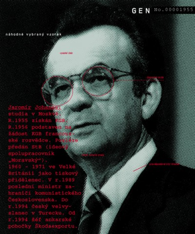 """Jaromír Johanes: studied in Moscow. In 1955 recruited by the KGB. In 1956 given to French secret service on a KGB request. Later handed over to StB (ideology cooperator """"Moravský""""). 1960–1971 in Great Britain as a press attaché. In 1989, last Minister of Foreign Affairs of communist Czechoslovakia. Until 1994 Czech Ambassador in Turkey. Since 1994 a director of Ankara branch of Škodaexport., Cprint, 100x120 cm, 2000"""