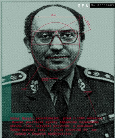 "Oskar Marek: General Major, prior to 1989 was the commanding chief of main political administration over the West military region (so called ""highest politruk"") a member of the Czech National Board. In the second half of the '90s, a councilor in České Budějovice., Cprint, 100x120 cm, 2000"