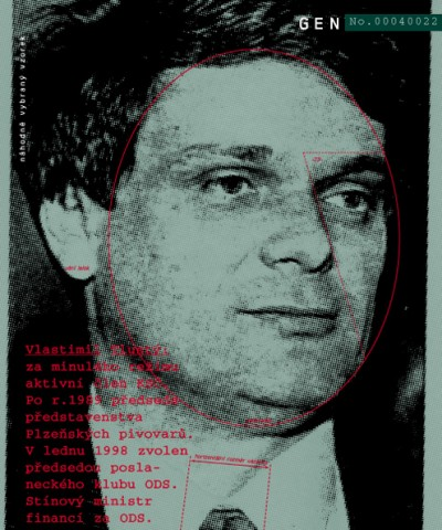 Vlastimil Tlustý: active member of KSČ during the former regime. After 1989 President of the Board of Directors of Pilsen's Breweries. In January 1998 elected head of the ODS faction of the Czech Parliament and shadow Minister of Finance., Cprint, 100x120 cm, 2000
