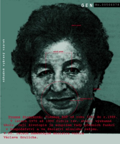 Yvonne Strecková: KSČ member from 1952 until 1989. Between 1970 and 1990, she was in charge of State research assignments. Her biography is a list of leading functions in agriculture and education during the former regime. In the 1990s became a deputy to the Minister of International Affairs, Václav Grulich., Cprint, 100x120 cm, 2000