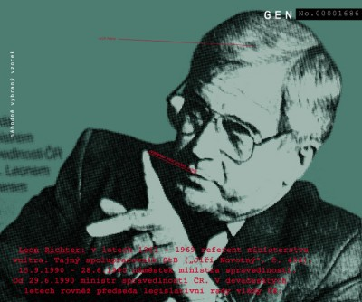 """Leon Richter: from 1961 to 1969 a speaker of the Ministry of Internal Affairs. Secret StB collaborator (""""Jiří Novotný"""", No. 434). 9. 15. 1989 – 6. 28. 1990 deputy of the Minister of Justice. Since 6. 29. 1990 Czech Minister of Justice. In the '90s also a chairman of legislative committee of the Czech government., Cprint, 120x100 cm, 2000"""