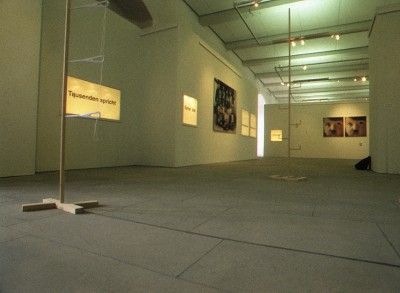 Installation view of Uberlebens Kunst with Editorial from Pode Bal, 2000