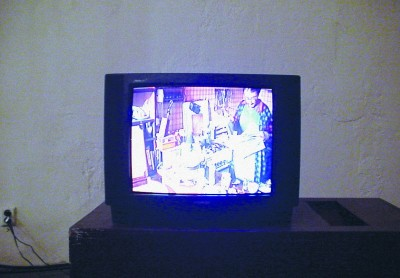 Part of the video installation Pay Per View in Gallery NoD, Prague, 2001