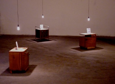 Night tables; part of the video installation Pay Per View, 2001