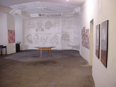 Clipart, projection, 2001; Night tables, installation, 2001