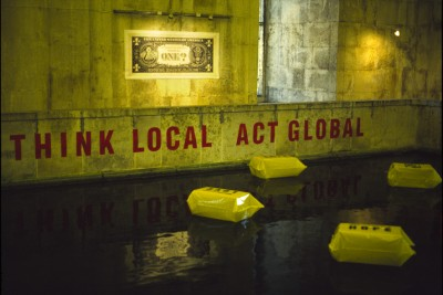 Installation view, Museo da Aqua, floating objects, text on lower wall, Cprint Dollar, Lisbon, 2002