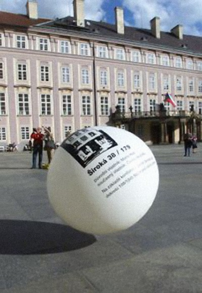 Detail of a baloon bearing a picture and address of one of the buildings confiscated from Germans living in Czechoslovakia during the ethnic cleansing of the aftermath of World War II, part of the Zimmer Frei project