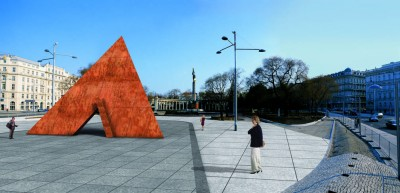 """3D architectural simulation of Schwarzenbergplatz after the return of the Monument """"Suffering of the 6th Army"""", part of the exhibition Niemandsland, Künstlerhaus Vienna, Cprint, variable size, 2004"""