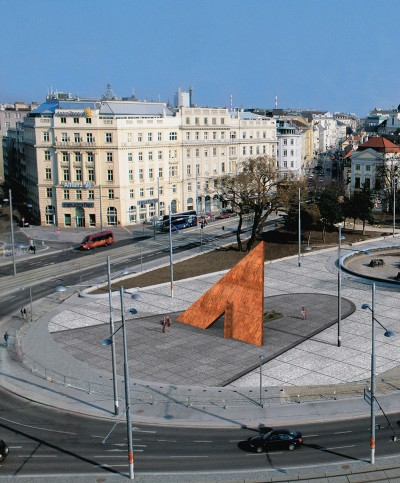"3D architectural simulation of Schwarzenbergplatz after the return of the Monument ""Suffering of the 6th Army"", detail, 2004"