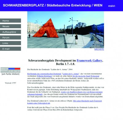 "Pode Bal's website of a fictive development company. Visitors could vote for erecting the Monument ""Suffering of the 6th Army"" in Vienna, 2004"