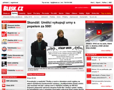 Report in the main tabloid Blesk, scandalizing the action