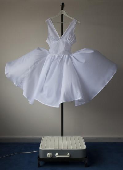 Dress Dryer, kinetic object, mixed media, 2010