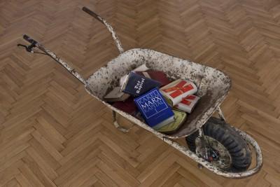 Wheelbarrow Tuned, found wheelbarrow, disk brake, copies of Karl Marx Das Kapital, 2010