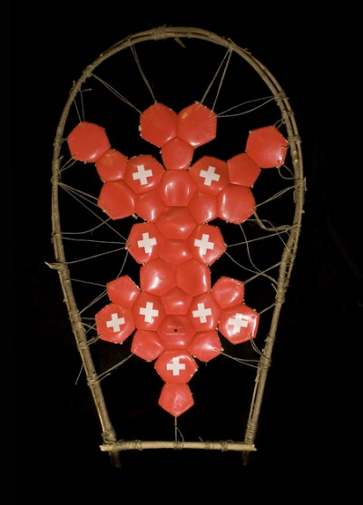 Peau de Balle 03, Disected soccerballs, wood, string, 2008
