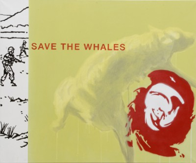 Save the Whales, acrylic and spray-paint on canvas, 120x100 cm, 2008