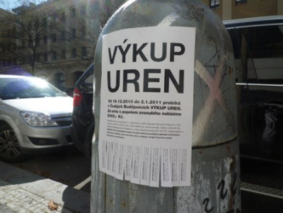 Výkup uren (URN BUYOUT), flyers in public space, Ceske Budejovice, 2010-2011