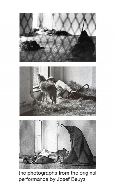 Documentation of the original performance by Josef Beuys, involving a live coyote
