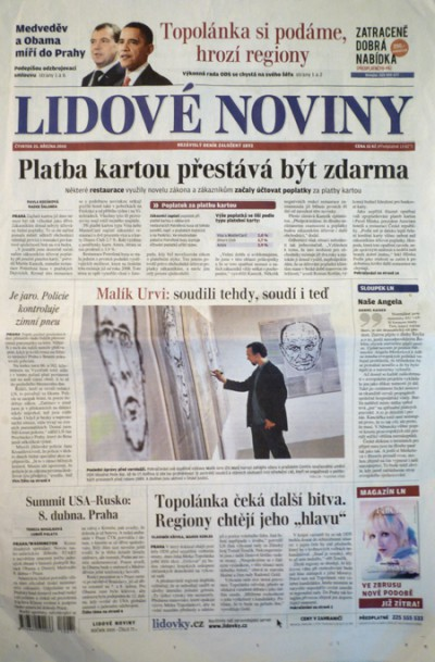 Front page of the major daily LIDOVE NOVINY the day after the opening in Prague's DOX, 2010