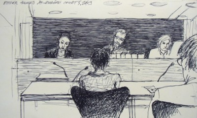 Drawing from the court stand, pencil on paper, 2009