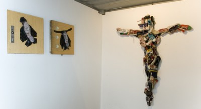 Saints Series and Used Child Shoe Christ, Installation view, Subvision Kunst-off festival in Hamburg, 2009